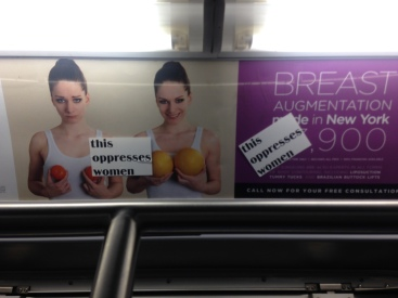 stickered breast implant ad